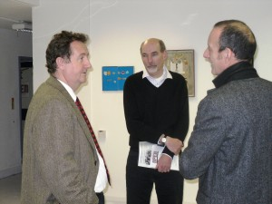 Dabvid Highton centre with Julian Bell, leader of Ealing Council, and Nick Pearson of OPEN Ealing